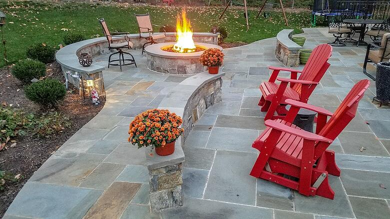 Willowsford, VA landscaping project featuring a patio, fire pit, plantings and more.