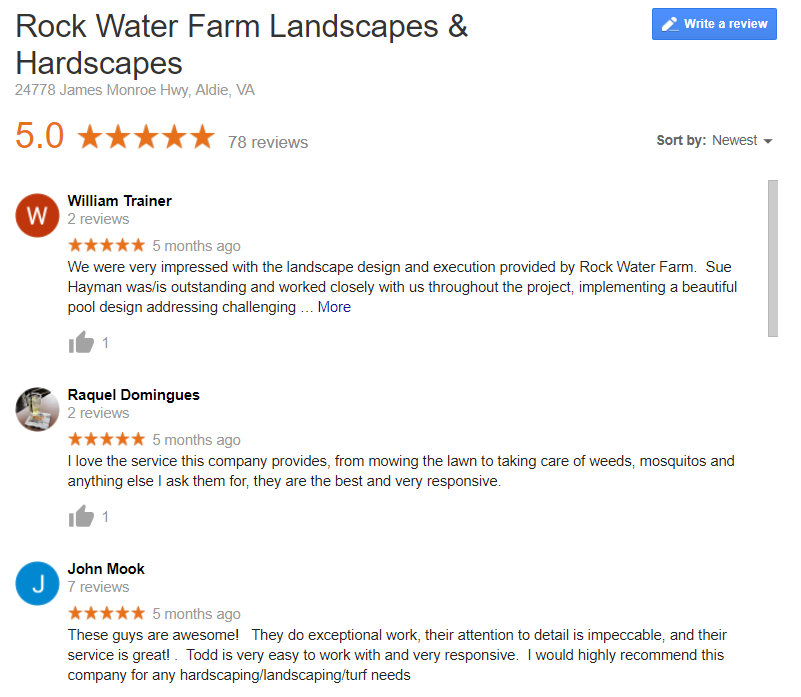 Rock Water Farm Google Reviews