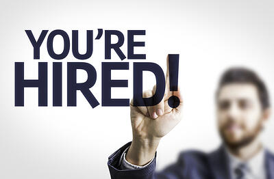 Youre Hired text with transparent background