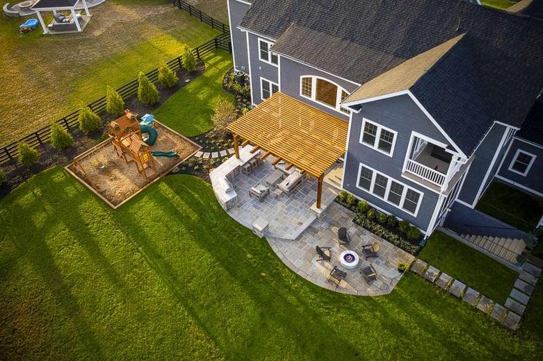 Rock Water Farm 3D landscape design image of patio and fire pit