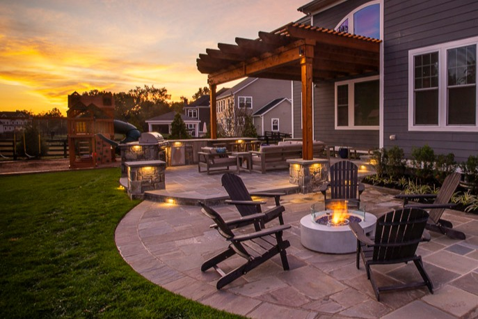 fire pit on patio in northern Virginia