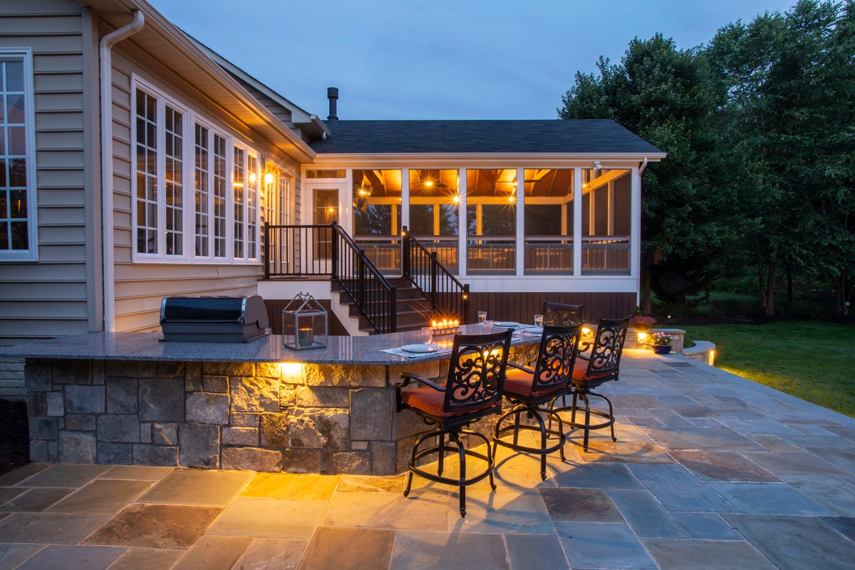 outdoor kitchen island with seating