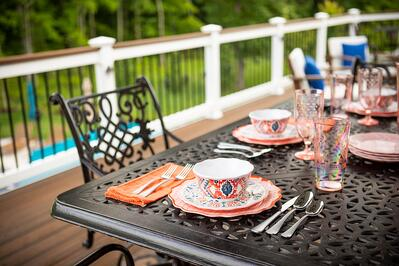 patio furniture and dishes