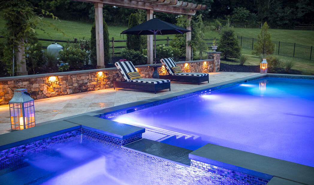 pool with lighting and landscape lighting