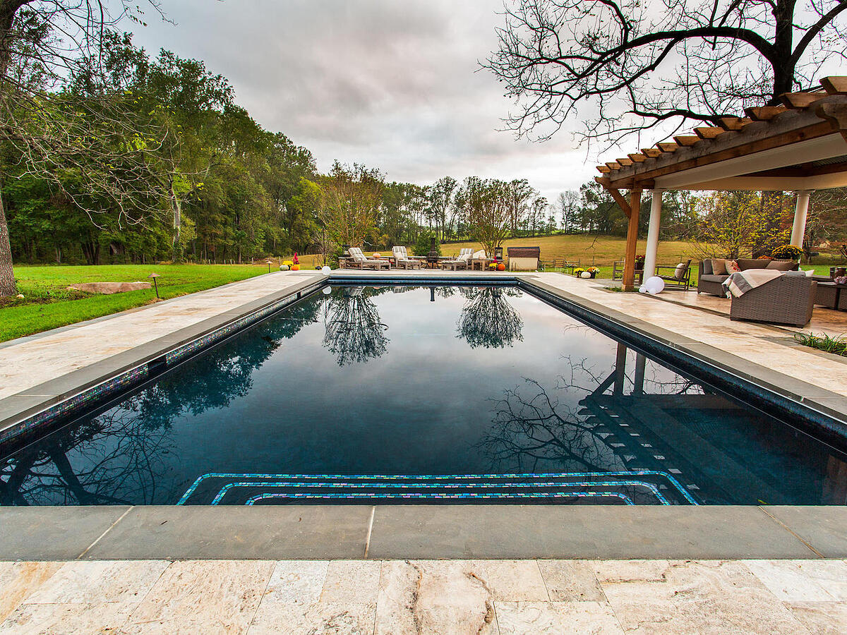 pool with black plaster pool material