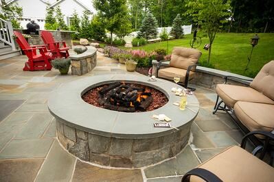 beautiful fire pit design on patio in Virginia