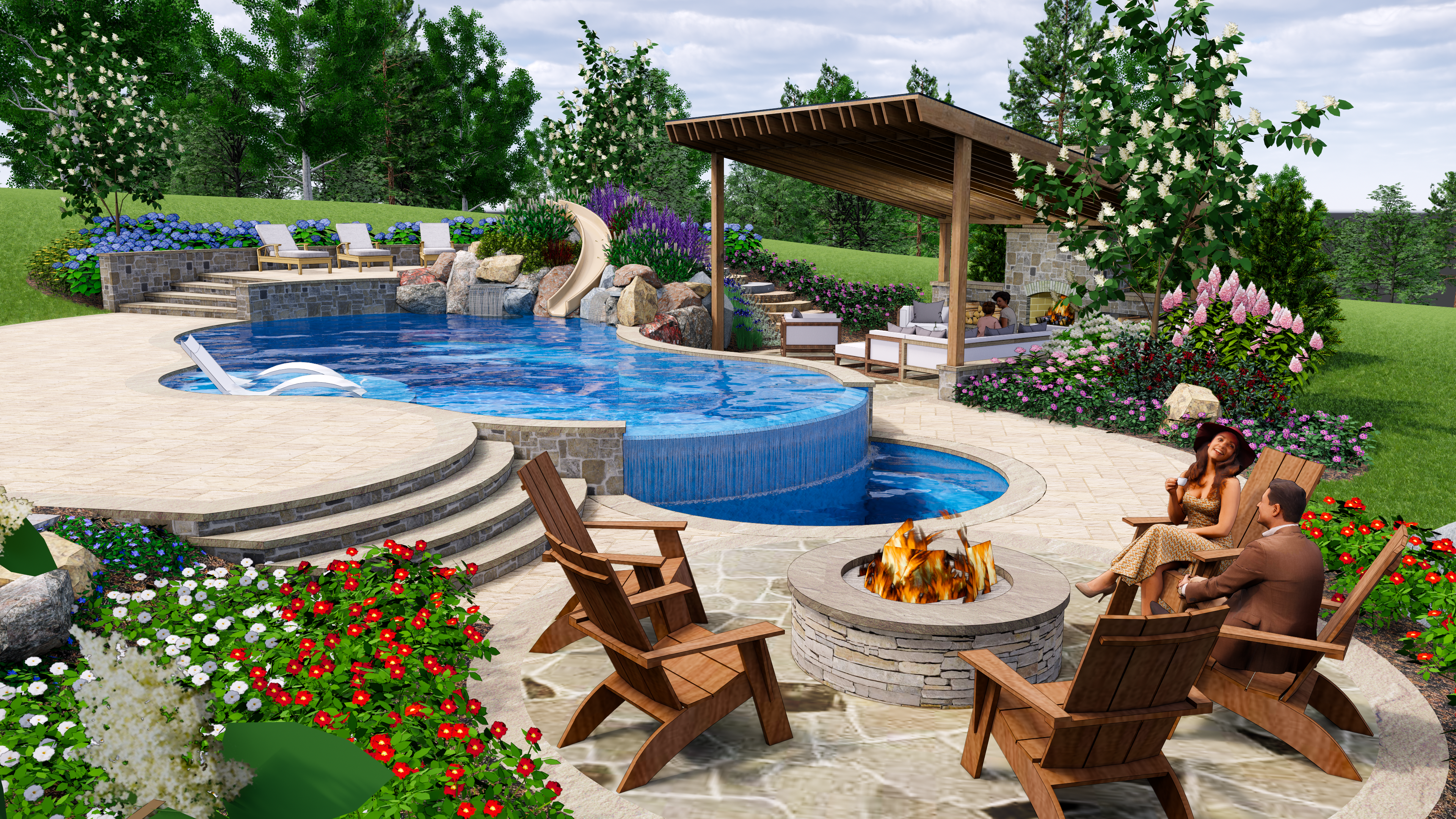Building A Pool On A Slope Design Tips For Great Falls Va Yards With Hills