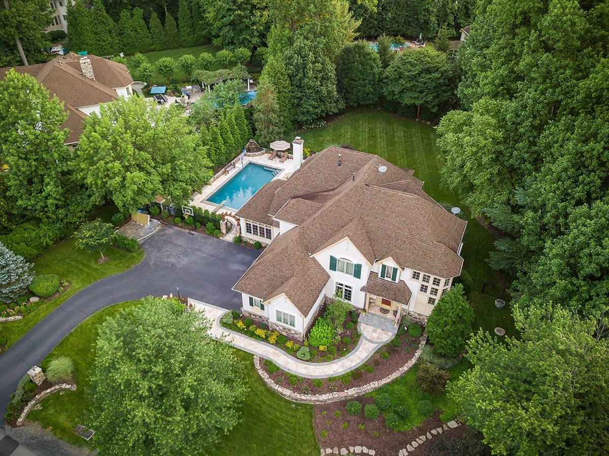 Aerial view or pool privacy with shrubs