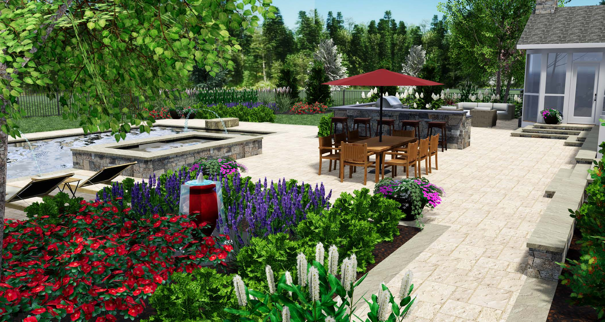 landscape design 3D rendering of patio, outdoor kitchen, pool, and plantings