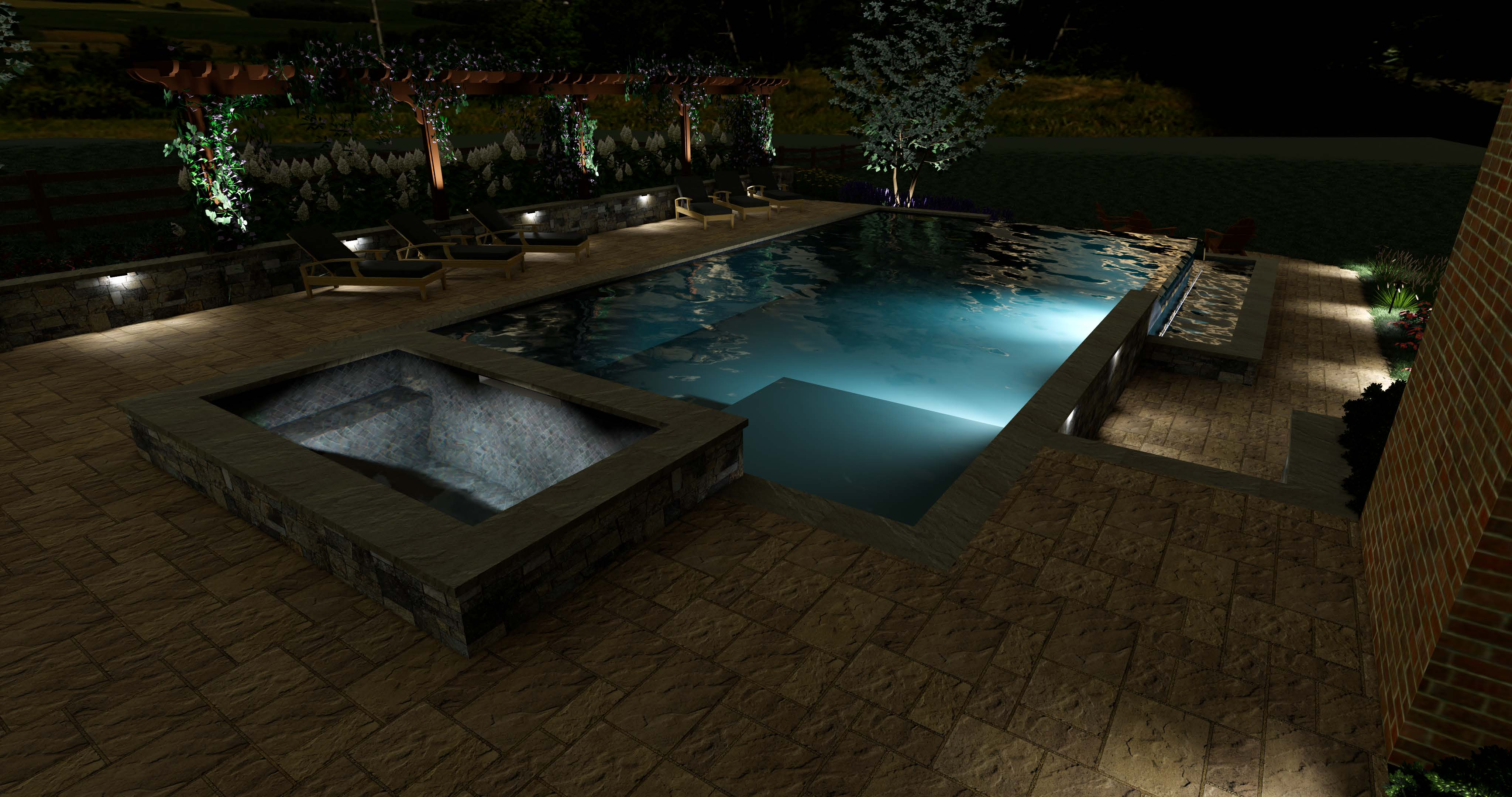 3D pool design at night by Rock Water Farm