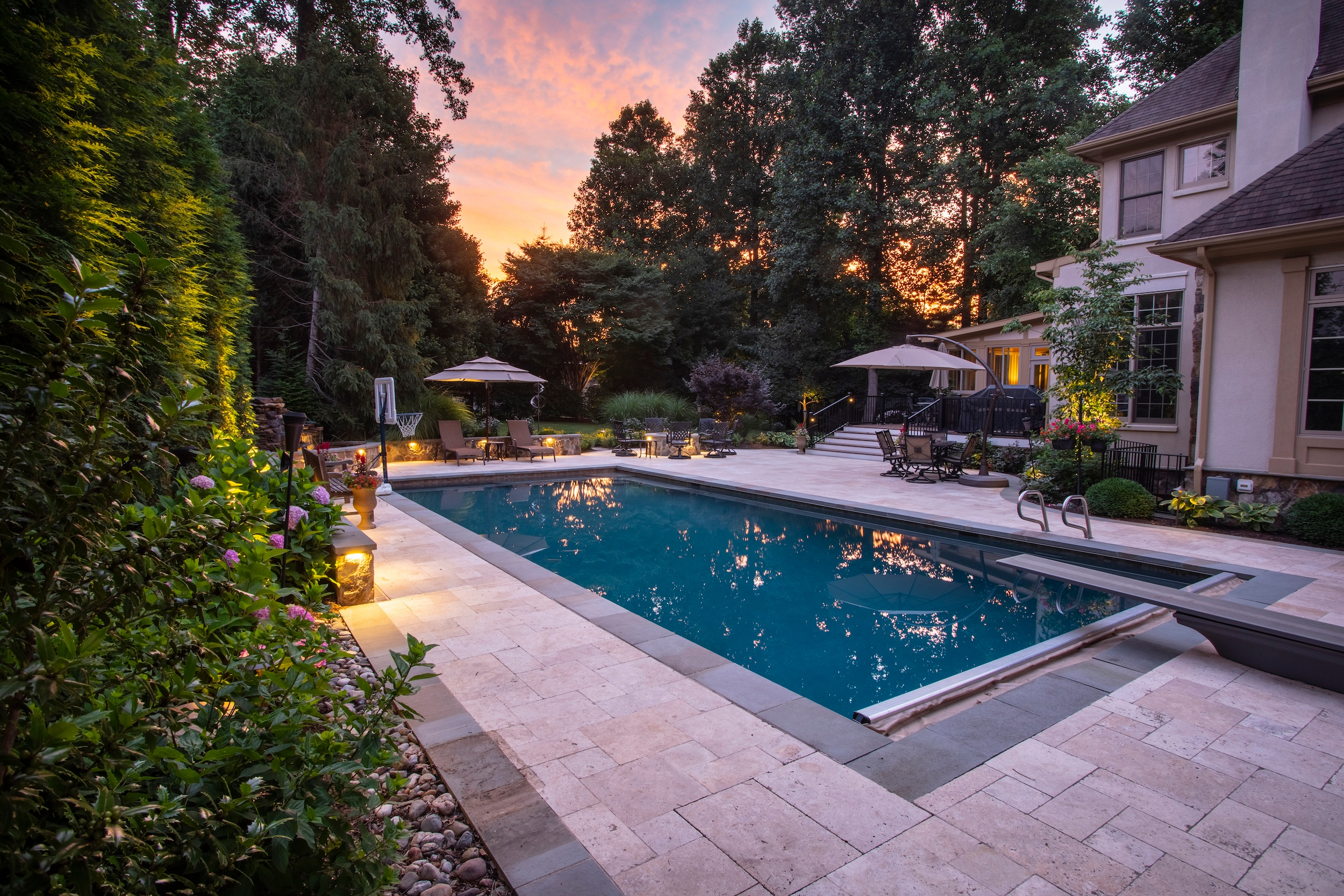 Great Falls, VA Landscape Design Case Study: The Perfect Mix of Stone, Plants, and Lighting